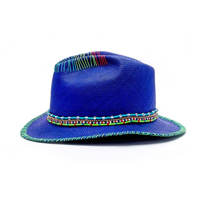 Zuma Blue Fedora Hat Genuine Panama
