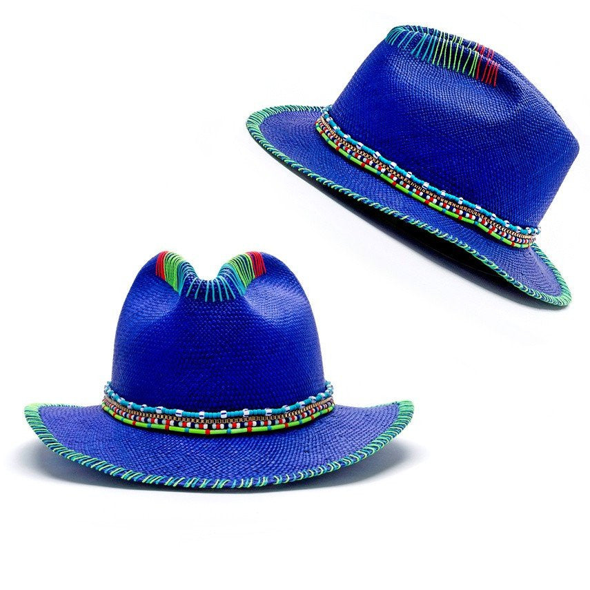 Zuma Blue Fedora Hat Panama Hat Collection