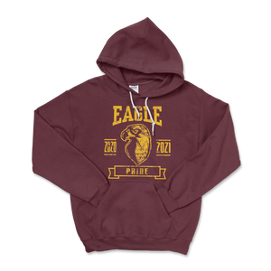 Eagle Pride Distressed Maroon Hoodie Sweatshirt