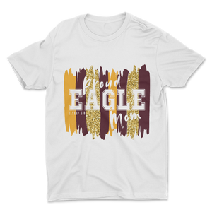 Proud Eagle PTO Mom White Glitter Tee - Adult Unisex