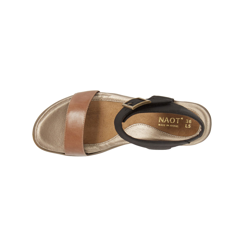 Naot | Caprice Arizona Tan Leather/Oily Coal Nubuck