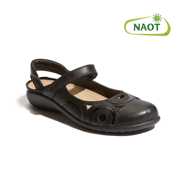 Naot | Rongo Wide Jet Black Leather 手工製舒適密頭涼鞋