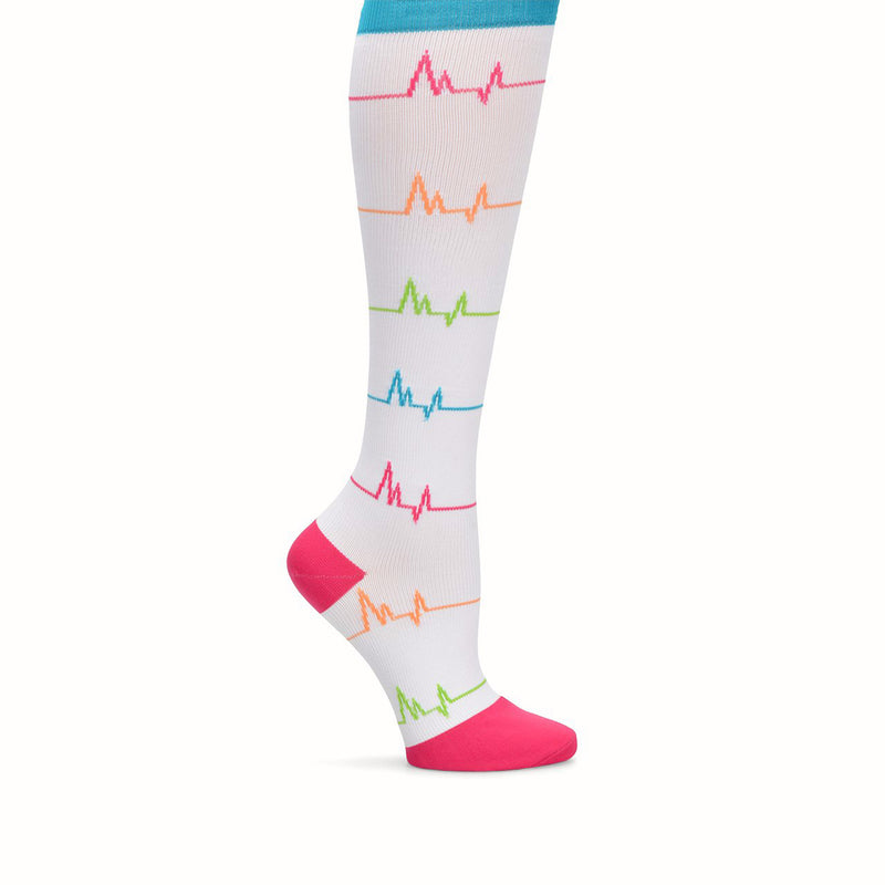 Nurse Mates | 12-14 mmHg Compression Socks EKG White