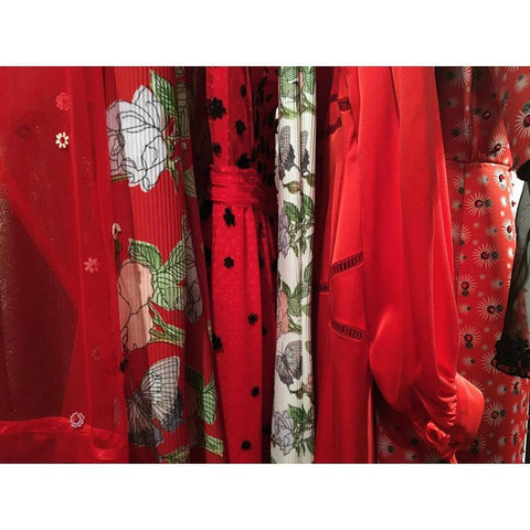 fashion collection of various fabrics and embelishments