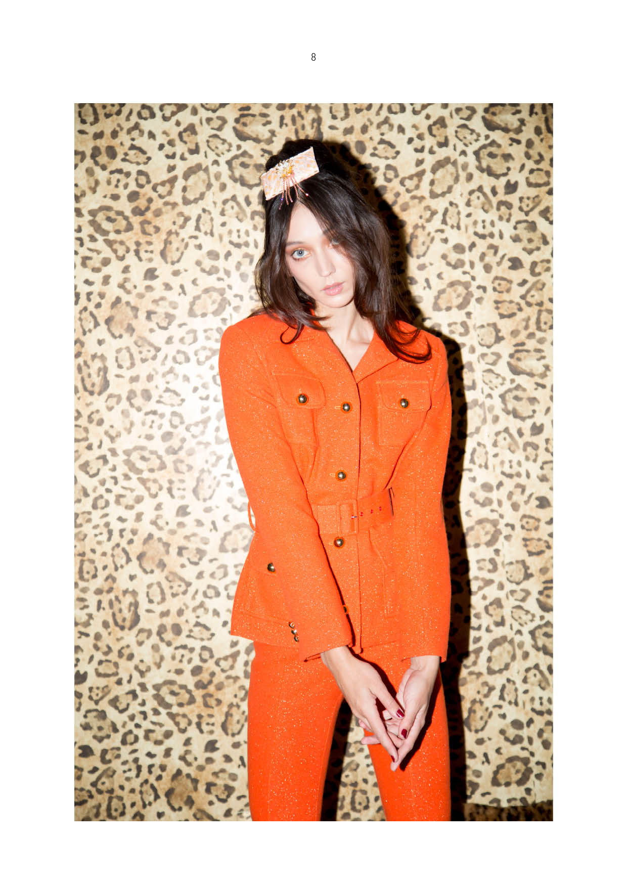 orange wool suit