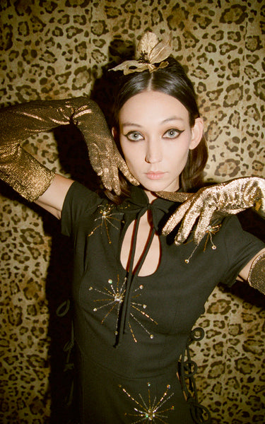 Pre-Order Gold Metallic Knit Opera Length Gloves - Women's Accessories : Natalie & Alanna - Women's Clothing & Accesssories