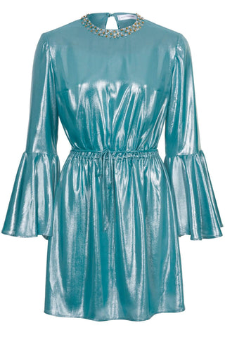 Pre-Order Beverly Metallic Chiffon Mini Dress - Women's Dresses : Natalie & Alanna - Women's Clothing & Accesssories