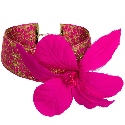 Pre-Order Dionne Metallic Brocade Choker with Orchid Flower - Women's Accessories : Natalie & Alanna - Women's Clothing & Accesssories