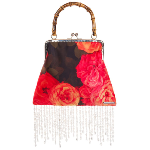 Pre-Order Donna Satin Printed Evening Bag With Beaded Fringe - Women's Bags : Natalie & Alanna - Women's Clothing & Accesssories