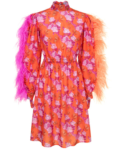 Butterfly and Rose Crepe de Chine Feather Midi Dress