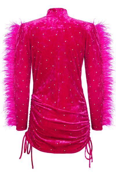 Tina Pink Velvet Feather Mini Dress- Made to Order