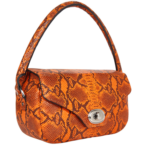 Orange Snakeskin Printed Leather Handbag