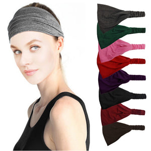 Women Lady Solid Color Lace Wide Elastic Headband