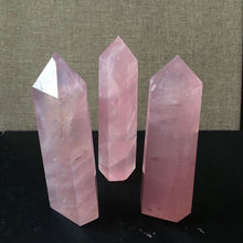 Load image into Gallery viewer, Natural Rock Rose Quartz Crystal Point Healing Stone Obelisk Wand Pink 40-100MM