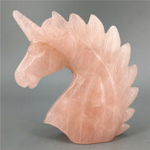 Load image into Gallery viewer, natural pink rose quartz crystal carved unicorn  statue for chakra healing products