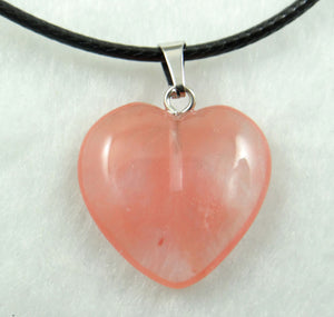 20mm Natural Stone Crystal heart Pendants