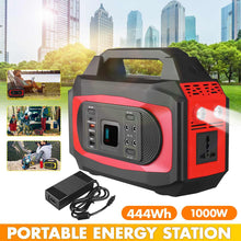 Load image into Gallery viewer, New 1000W 110V/220V 444Wh Lithium Battery Solar Power Storage Generator