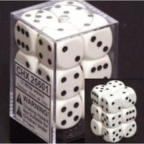 Chessex: Opaque 16mm D6 White Dice Block