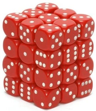 Chessex: Opaque 12mm Red/White D6 Dice Block