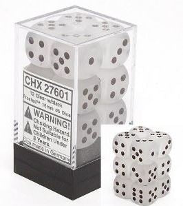 Chessex: Frosted Clear/Black 16mm D6 Dice