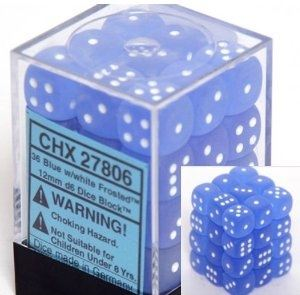 Chessex: Frosted Blue/White 12mm D6 Block