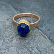 Load image into Gallery viewer, Natural Wonder: Blue Sapphire/Pink Diamonds Rose Gold Ring