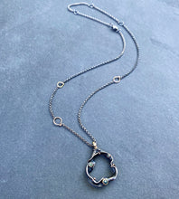Load image into Gallery viewer, Organic Matter: Blue Diamond Wave/Curvaceous Rivet Necklace