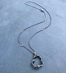 Organic Matter: Blue Diamond Wave/Curvaceous Rivet Necklace