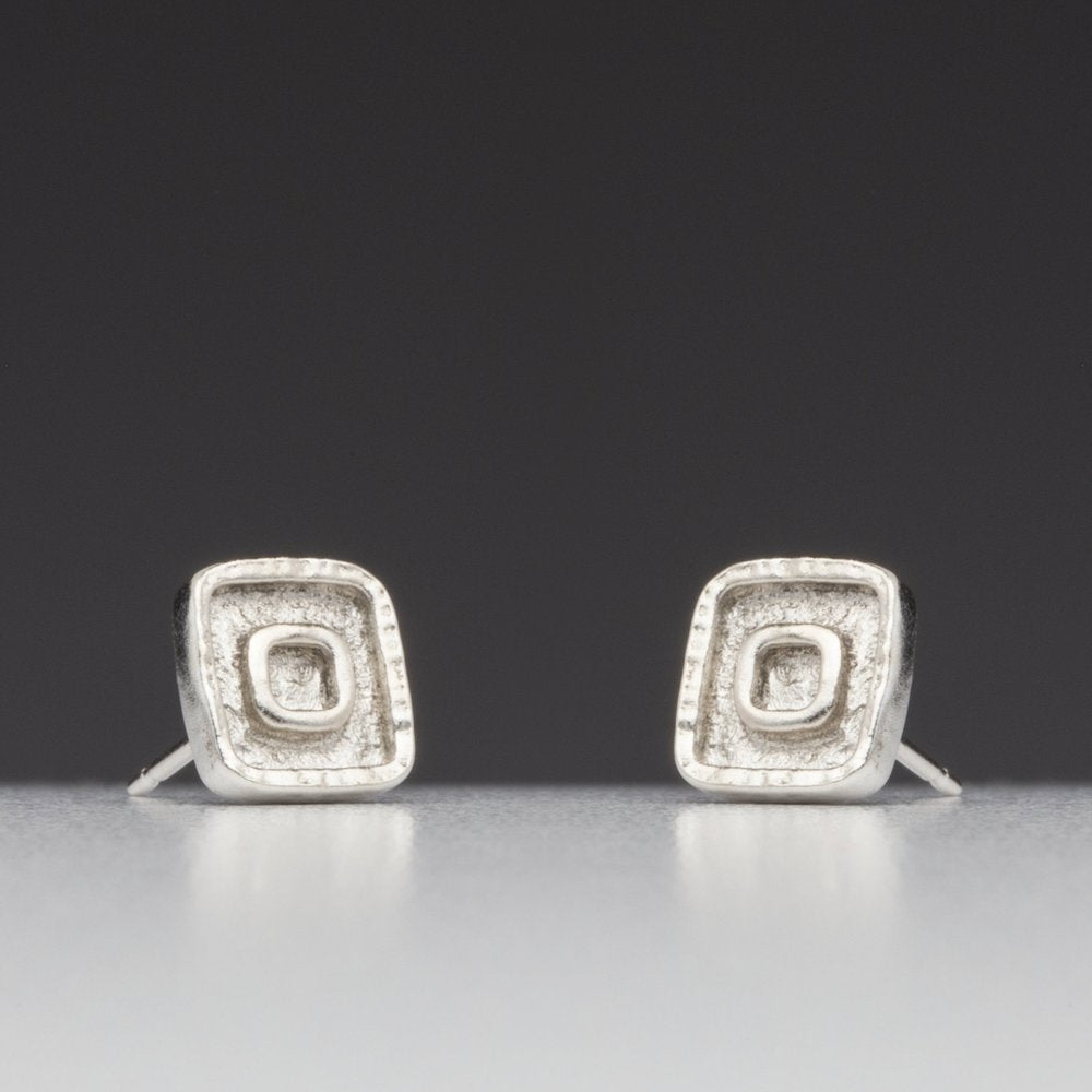 Forged: Raised Square Stud Earrings