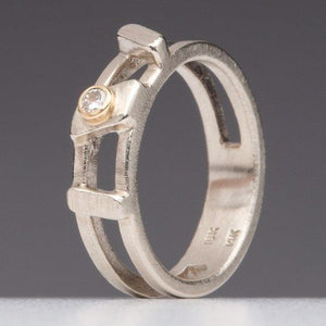 Asymmetrical Bars: Diamond and White Gold Ring
