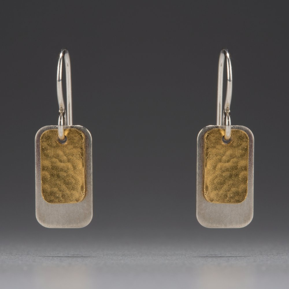 Gilded: Double Rectangle Layered Drop Earrings