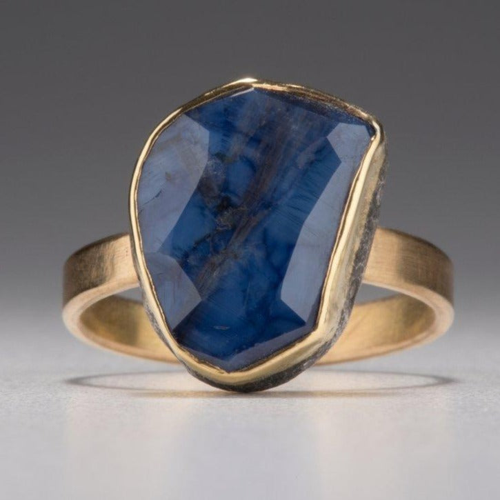 Natural Wonder: Blue Sapphire/White Diamonds Yellow Gold Ring