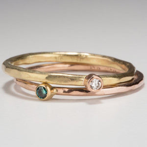 Forged: Green Diamond and Rose Gold Hammered Ring