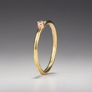Forged: Diamond and Yellow Gold Hammered Ring