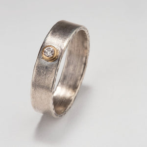Modern Simplicity: Diamond and Sterling Silver Ring