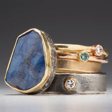 Load image into Gallery viewer, Natural Wonder: Blue Sapphire/White Diamonds Yellow Gold Ring