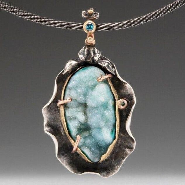 Natural Wonder: Chrysocolla and Malachite Druzy Necklace