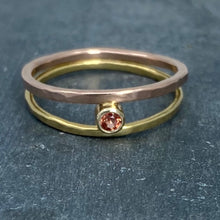 Load image into Gallery viewer, Parallel Universe: Padparadscha Sapphire and Yellow/Rose Gold Ring