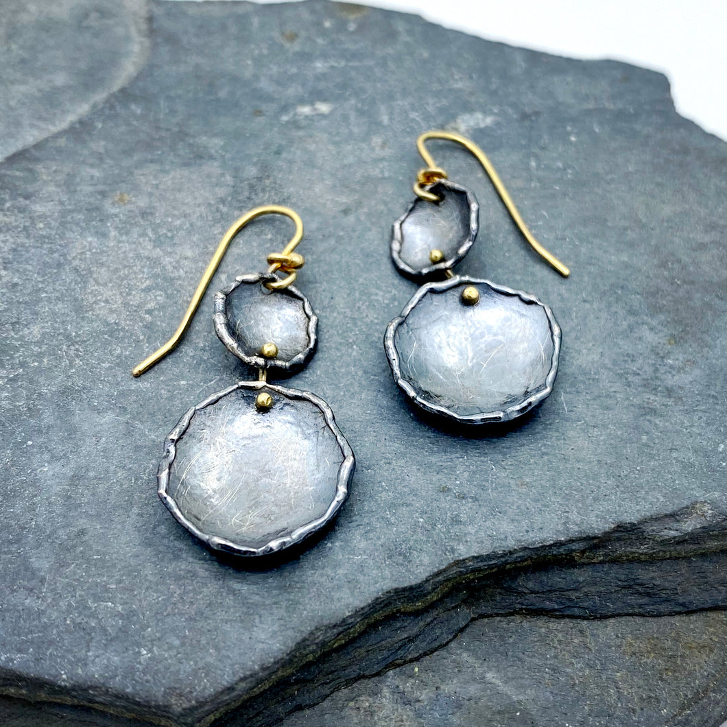 Organic Matter: Double Pod/Rivet Drop Earrings