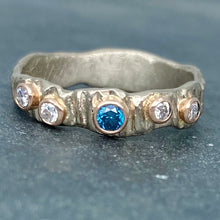 Load image into Gallery viewer, Textured Bark: Blue and White Diamonds/Palladium White Gold Ring
