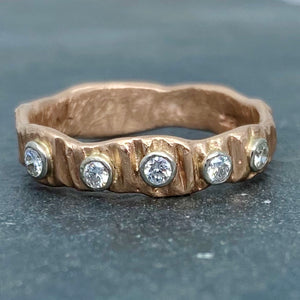 Textured Bark: Five-Diamond Rose Gold Ring