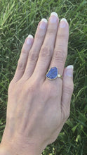 Load and play video in Gallery viewer, Natural Wonder: Blue Sapphire/White Diamonds Yellow Gold Ring