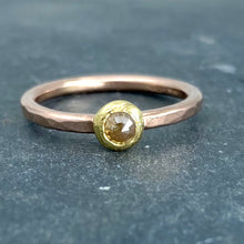 Load image into Gallery viewer, Forged: Champagne-Colored Diamond and Rose Gold Hammered Ring