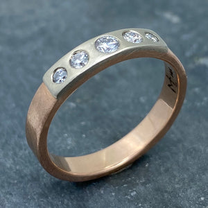 Modern Simplicity: Five-Diamond Rose Gold Ring