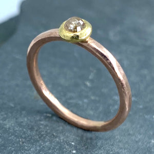 Forged: Champagne-Colored Diamond and Rose Gold Hammered Ring