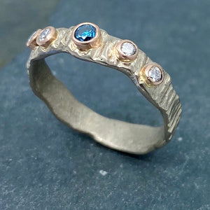 Textured Bark: Blue and White Diamonds/Palladium White Gold Ring