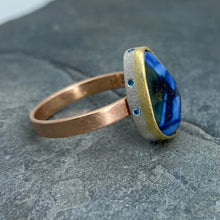 Load image into Gallery viewer, Natural Wonder: Blue Sapphire/Blue Diamonds Rose Gold Ring