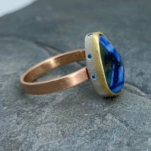 Natural Wonder: Blue Sapphire/Blue Diamonds Rose Gold Ring