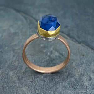 Natural Wonder: Blue Sapphire/Pink Diamonds Rose Gold Ring