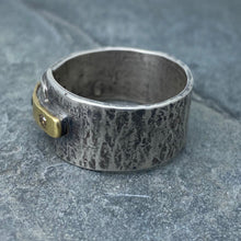 Load image into Gallery viewer, Modern Simplicity: Chocolate and Black Diamonds/Yellow Gold and Sterling Silver Ring